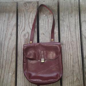 Vintage maroon leather handbag